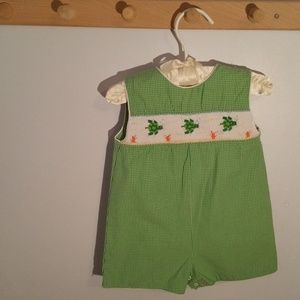 Petit Ami Size 6 Months Green Check Onesie Shorts